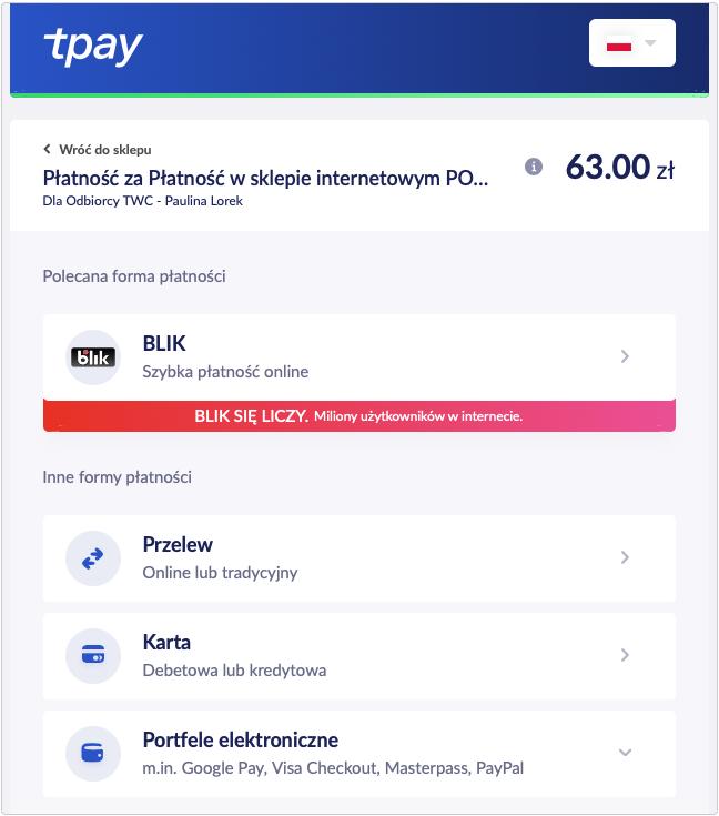 Płatności systemem tPay