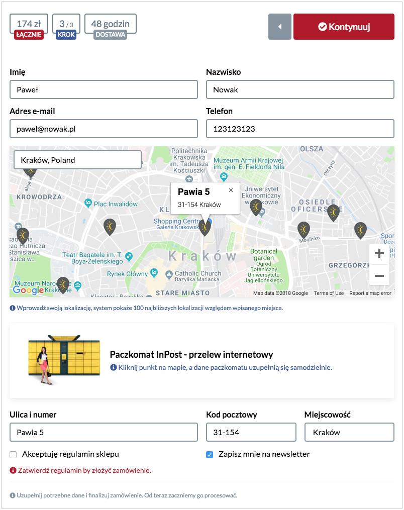 Przykładowe okno dostawy do Paczkomatu InPost