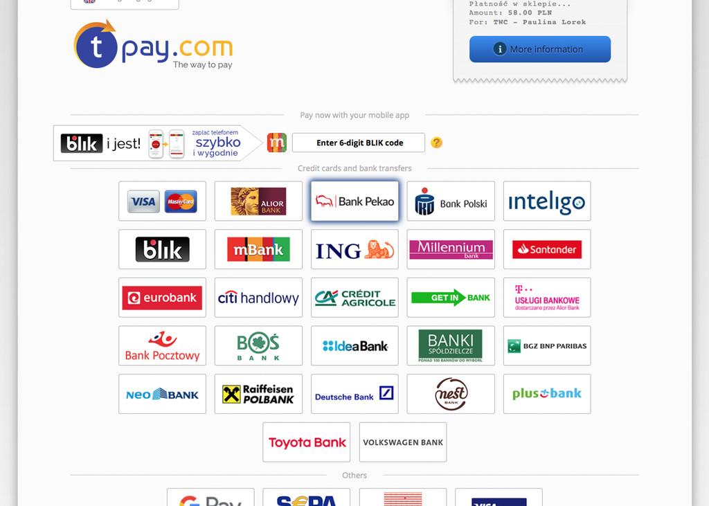 9b52c894120aec Firma tPay udostępnia szeroką listę dostępnych banków działających na  terytorium Polski. Wybierz odpowiedni dla siebie bank i skorzystaj z  szybkiej i ...